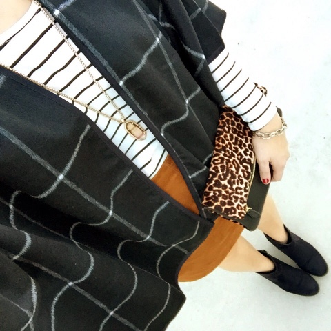 poncho, how to wear ankle boots, pattern mixing