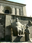 Statue of Mesrop Mashtots (inventor of the Armenian alphabet), with student, outside the Matenadaran (Armenian National Archive), Yerevan, Armenia.