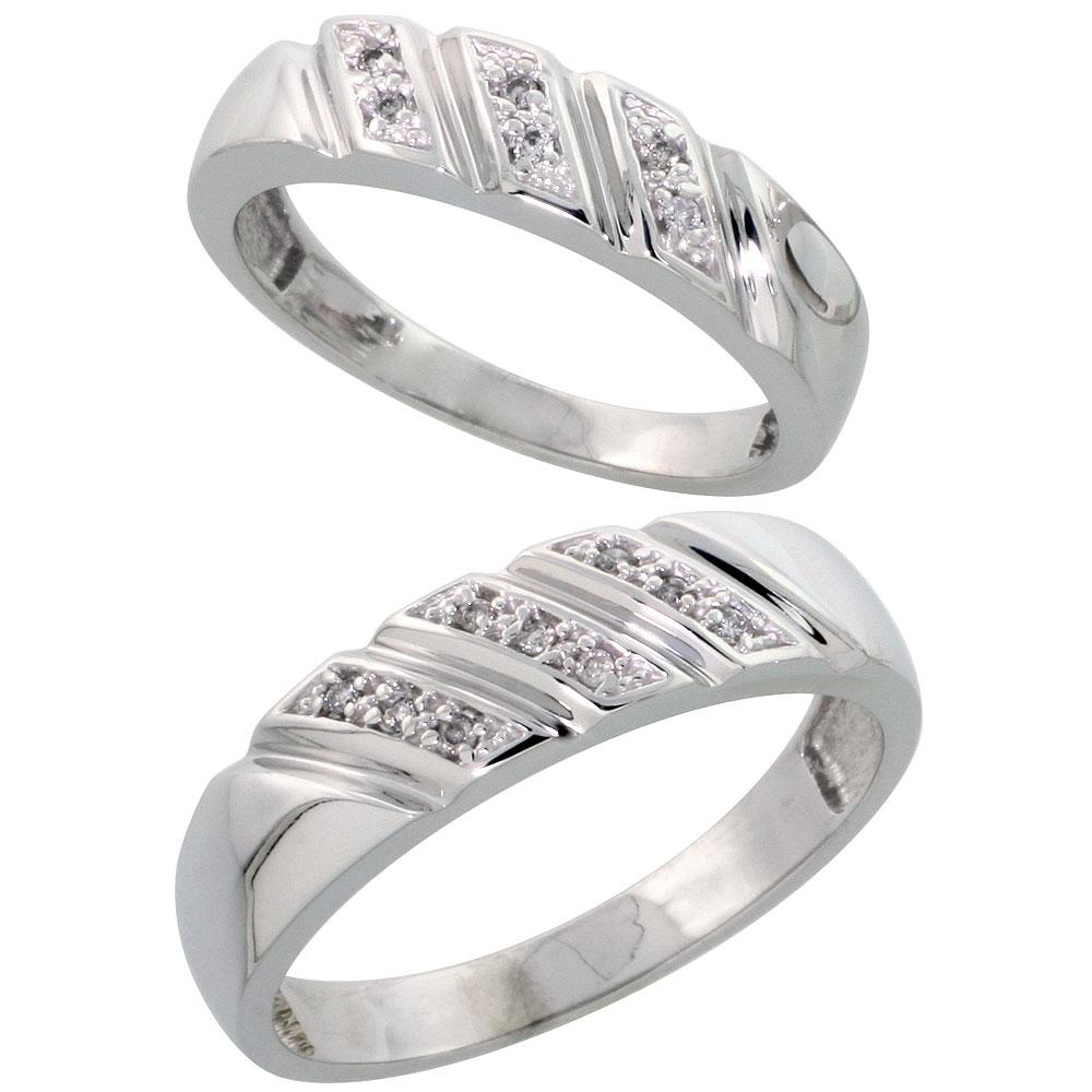 Sterling Silver 2-Piece His  6mm  & Hers  5mm  Diamond Wedding Band Set,