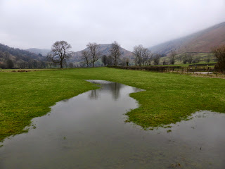 Flooded fields with Troutbeck Tongue in the distance