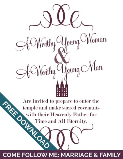 Come Follow Me: Marriage & Family | Celestial Marriage Wedding Invitation Free Handout