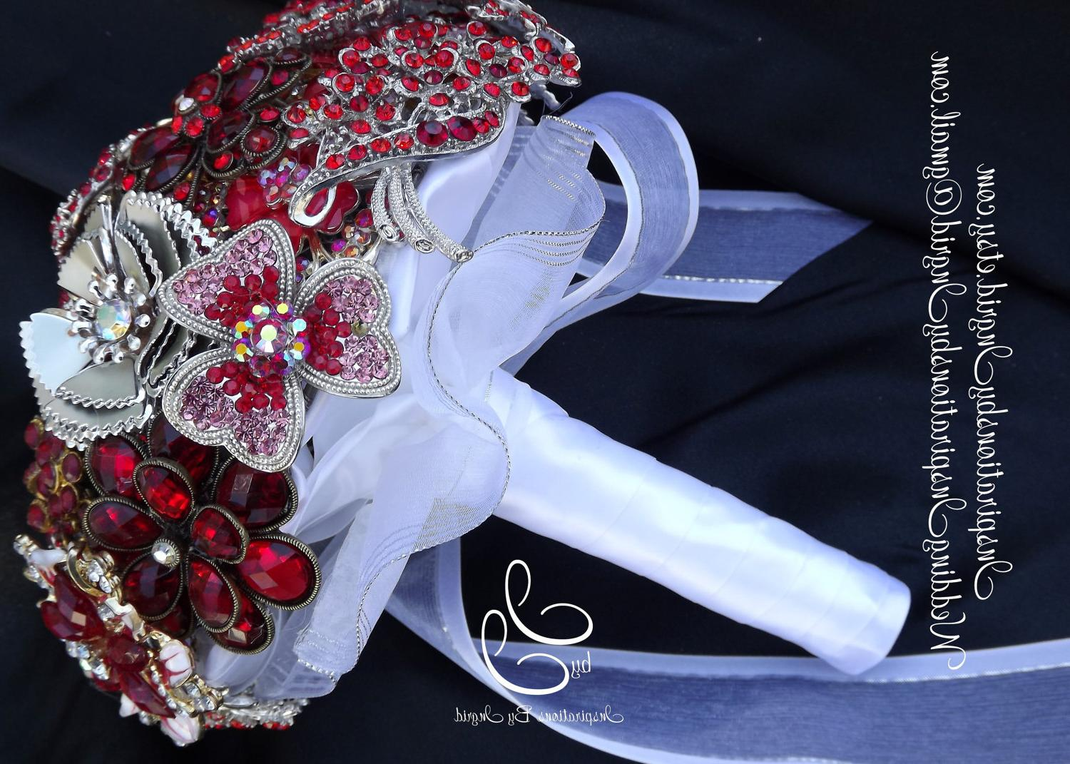Red Brooch Wedding Bouquet