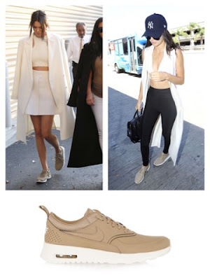 Celebrity Kendall Jenner in Nike Air Max Thea in Tan Nude Desert Camo