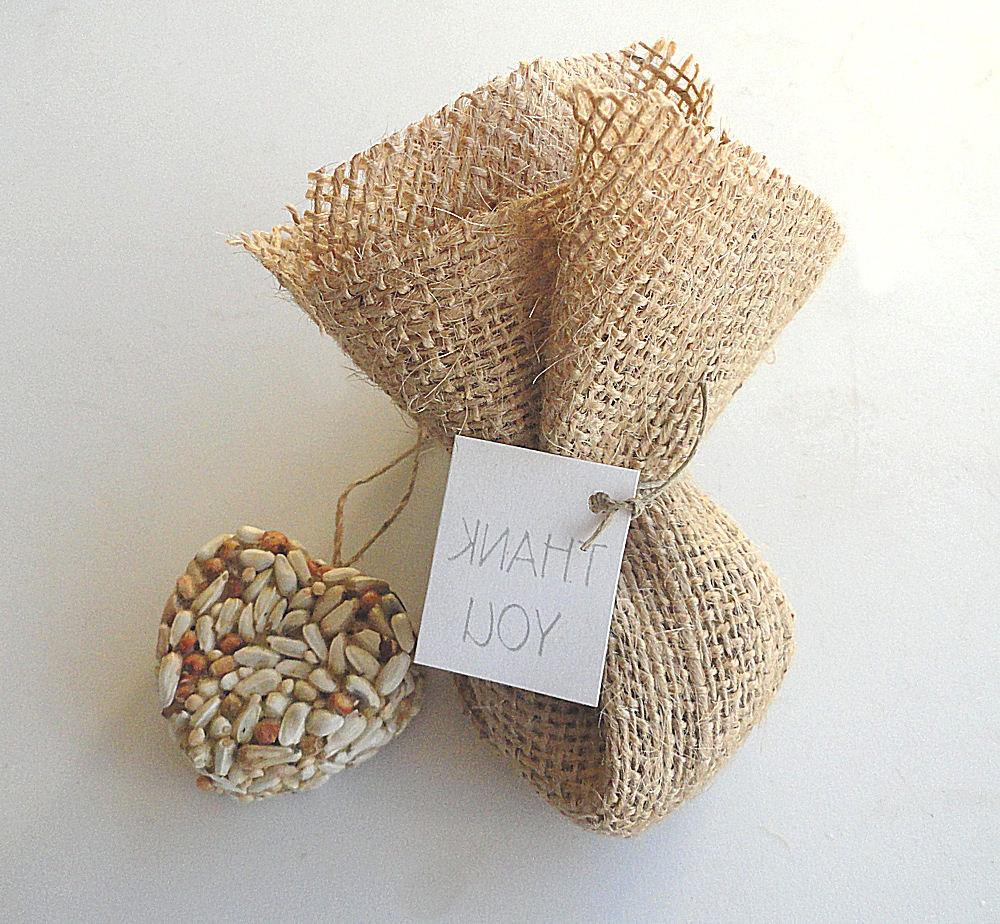Burlap Wedding Favor Bird Seed