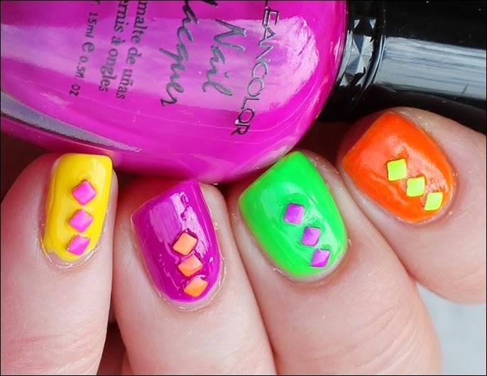 Farbspiel Neon Shuffle Nail Art Nageldesign Studs 03