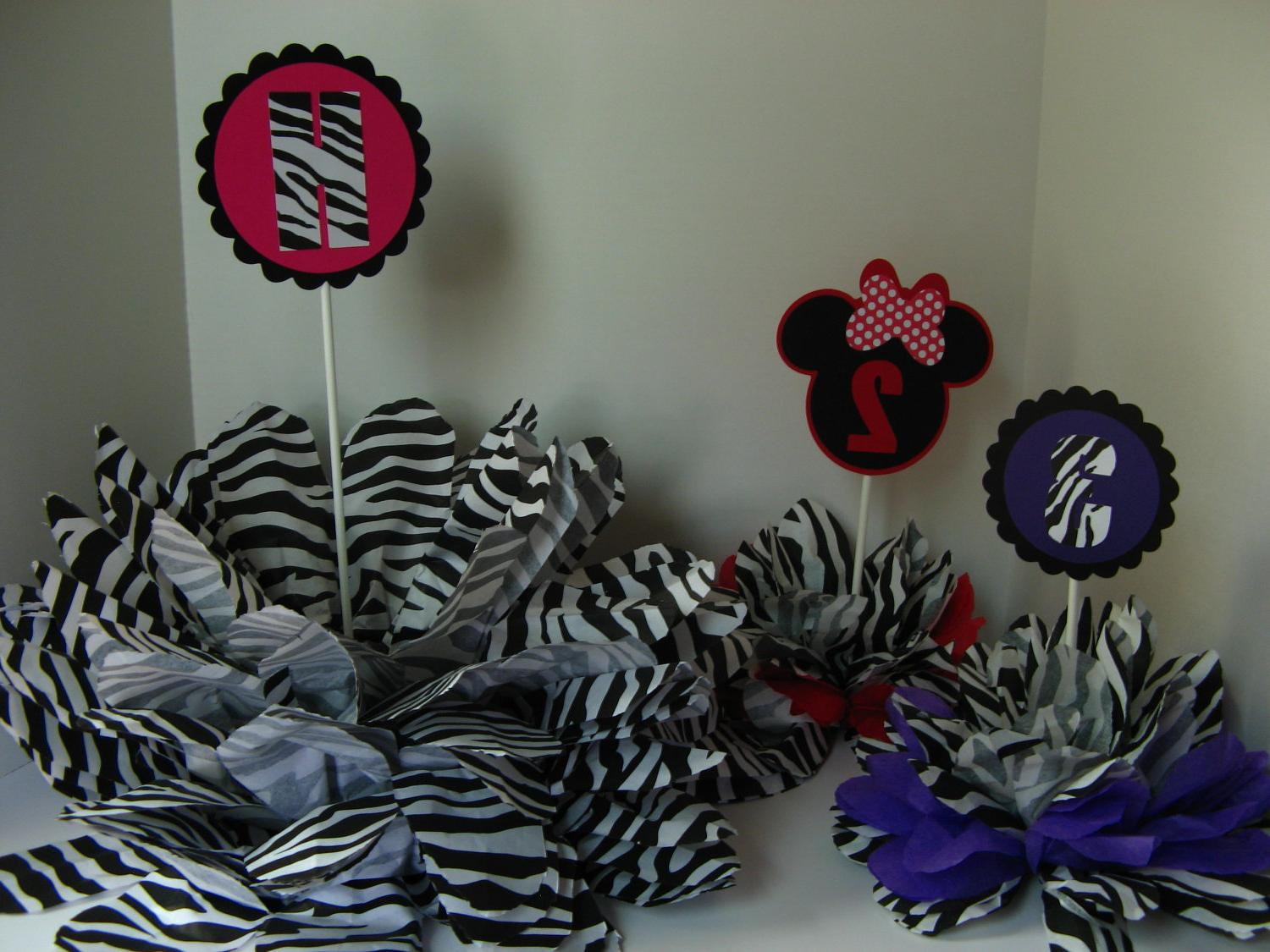 zebra print pomopm decoration LARGE 18 accross 18 tall. From missdaisyw
