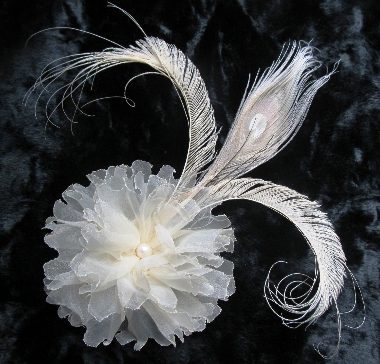 Wedding Flower Hair Clip Fascinator, Ivory Fleur de Lis