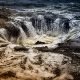 Thor's Well by Debi Baskind Jahier - Nature Up Close Water ( water, nature, tide, wave, pacific, ocean, blow hole, tidal, rocks, hole,  )