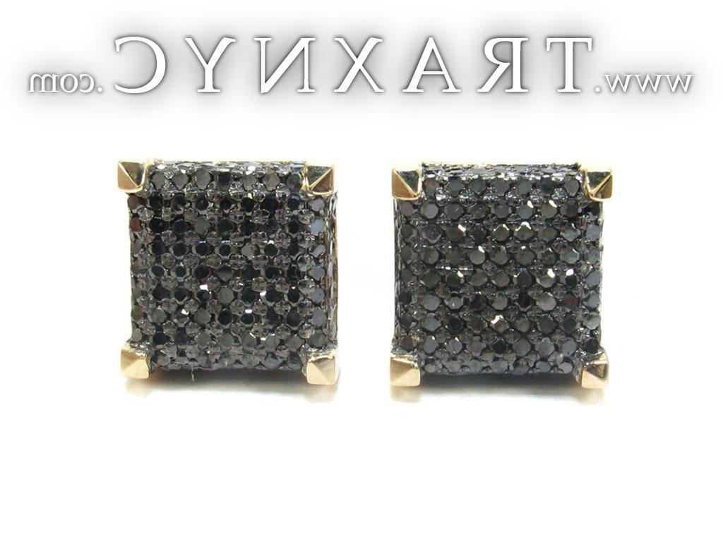 Full Size Picture for Yellow Gold Round Cut Pave Black Diamond Earrings