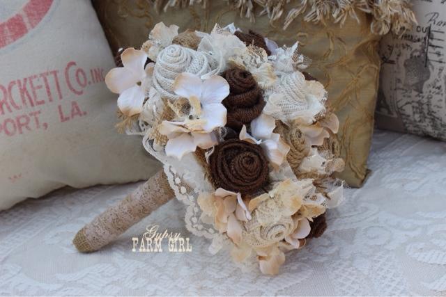 burlap and lace bridal bouquet