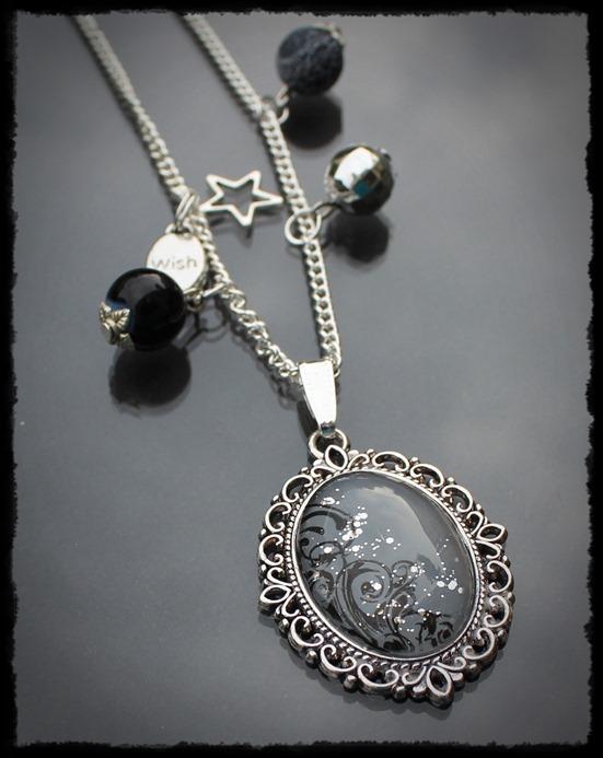 Kette Silber-Schwarz 2x