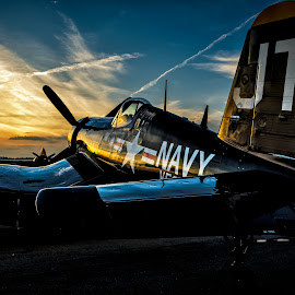 Corsair Dusk by Chris Buff - Transportation Airplanes ( wwii, last, north, vought, war, photography, military, aviation, flying, over, wings, aviationbuff, 2012, evening, light, chris, cbuff@charter.net, clouds, twilight, georgia, us, hour, machine, morning, www.aviationbuff.com, dusk, f4u, flight, warbird, rome, corsair, fly, sunset, aircraft, buff, navy, sunrise, golden, airshow )