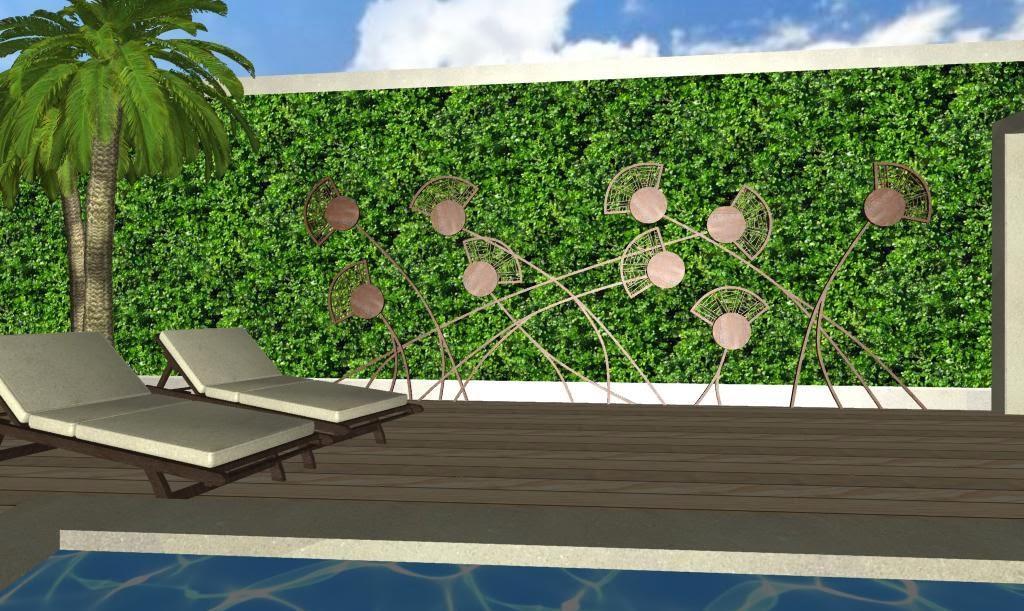 adornos en hierro para jardines - foto diseño jardines de lujo - campos de amapolas sobre un muro verde