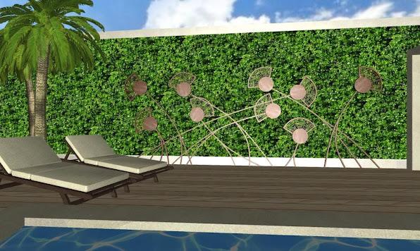 adornos en hierro para jardines - foto diseño jardines de lujo - muro verde