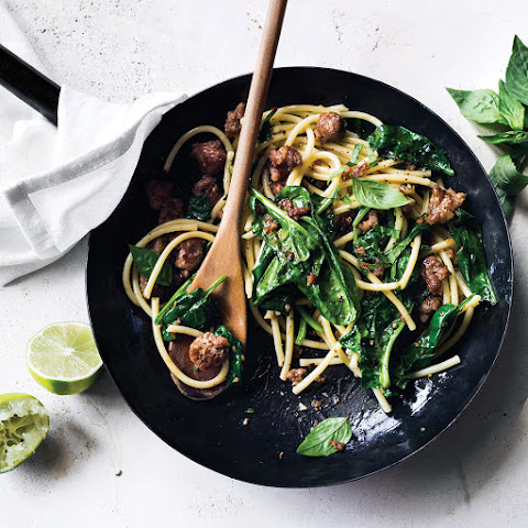 Asian Pork Noodles with Spinach