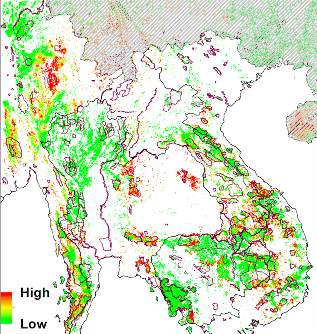 Predicted risk of conversion of wildland forests to rubber plantations. (a) Predicted conversion risk to the remaining forests and Key Biodiversity Areas (KBAs). The KBAs are shown as purple polygons. China is greyed out as no further rubber expansion targets are known for this country. Graphic: Ahrends, et al., 2015