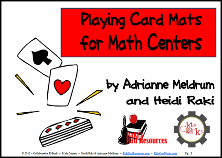 Free download - playing card mats for math centers.