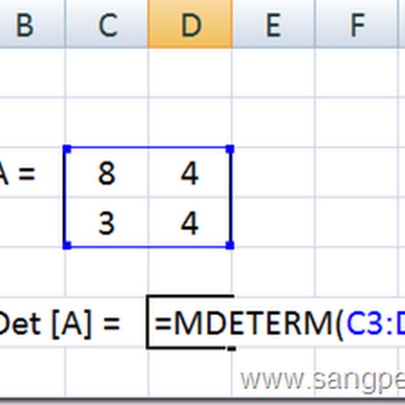 Menghitung  Determinan Matriks dengan Excel