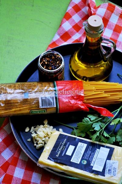 Ingredients for Aglio-e-Olio