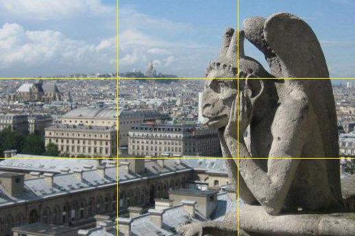 Gargolas de Notre Dame y vista de Paris