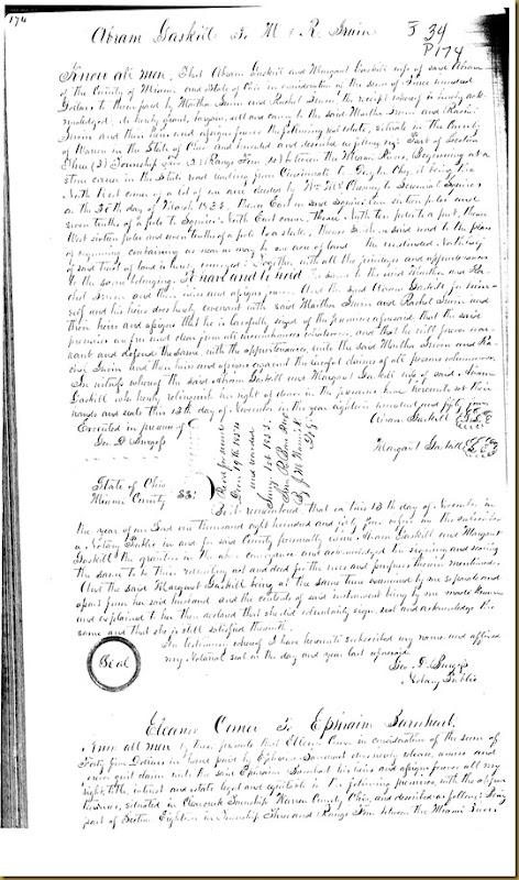 Abram Gaskill,Margaret Gaskill,Miami Co,OH conveyMartha Irwin,Rachel Irwin 1854