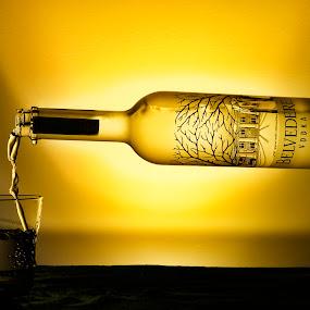 Bottle Flying by Maurizio Mameli - Artistic Objects Glass ( flying, still life, glass, bottle, wodka, light, poland )