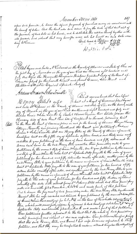 Andrew Irwin & Jehu Trimble filed a petition Henry & HarrietStities 18391