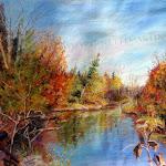 Rivière Victoria en automne, pastel sec, 16 x 20 po.