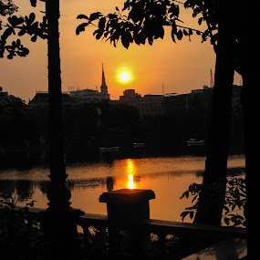 Sunrise in KOLKATA  by Hrijul Dey - Landscapes Sunsets & Sunrises ( sunrise, kolkata, reflections, silhouette, shadows, lake, trees )