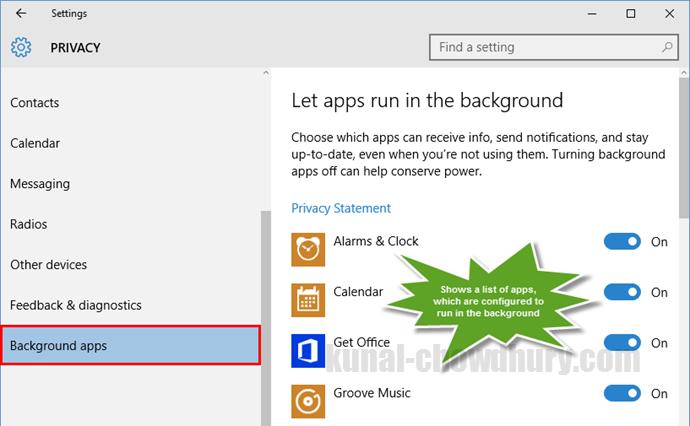 Windows 10 Settings - Privacy - Background apps (www.kunal-chowdhury.com)