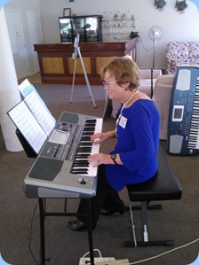 Events Manager, Diane Lyons, playing her Korg Pa900