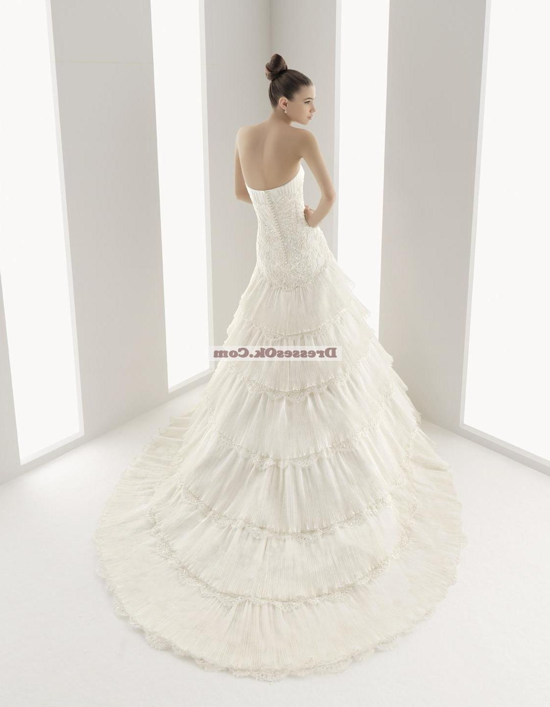 Simple mermaid strapless chapel Wedding Dress AIRBWD056