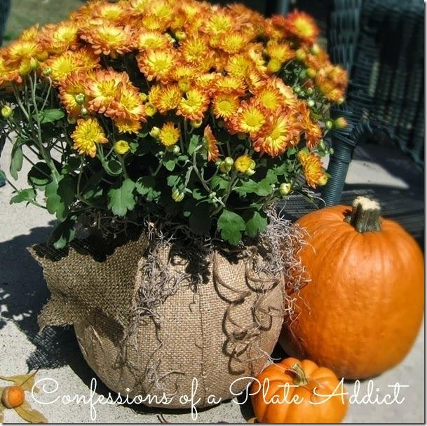 CONFESSIONS OF A PLATE ADDICT  Burlap Découpage Pumpkin Planter
