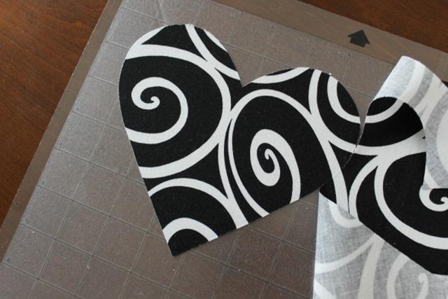 cutting fabric hearts