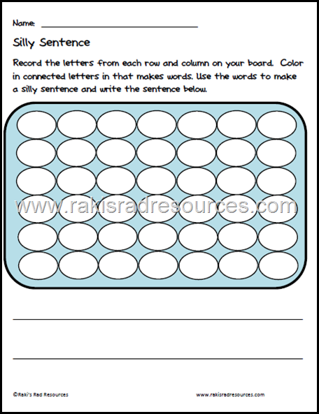 Free recording sheet creating silly sentences using Connect 4 as a homemade boggle game. Free download from Raki's Rad Resources