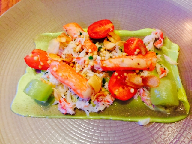 Arctic King Crab, wild garlic, cucumber, heirloom tomatoes at Maze by Gordon Ramsay