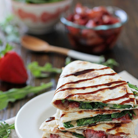 Roasted Strawberry, Brie and Arugula Quesadillas