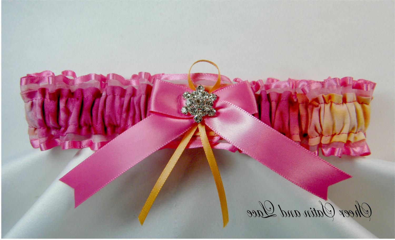 Hot pink and orange Wedding garter rhinestone cluster