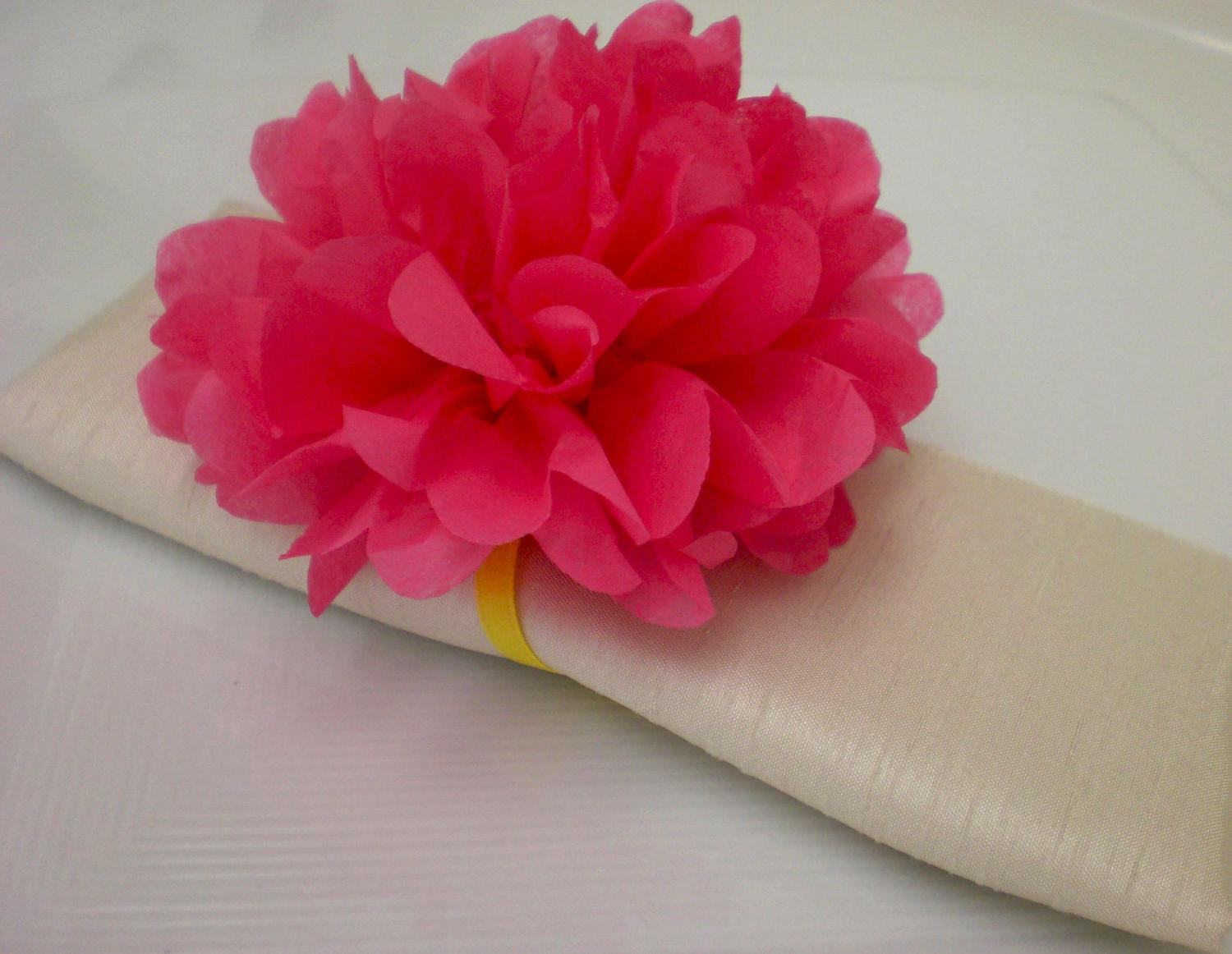 Wedding Decoration ..40 Tissue Paper Flower Napkin Rings  ANY COLOR .