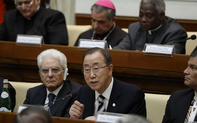 UN Secretary-General Ban Ki-moon addresses climate change summit. Photo: CNS