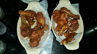 Soy ginger (left) and spicy Hell's (right) fried chicken drumsticks