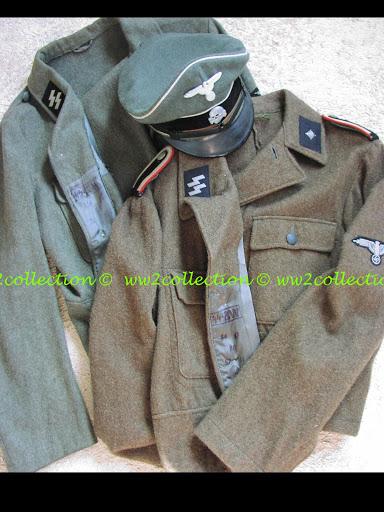 M44 Uniform Tunic Waffen-SS, SS-BW marked, Waffen SS Peaked Cap, WW2 Schirmmütze Visored Cap