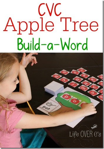 FREE! CVC Apple Activity for Kids - This is such a fun way for Preschool and Kindergarten age kids to practice sight words with a fun, hands on fall activity for kids (homeschool)