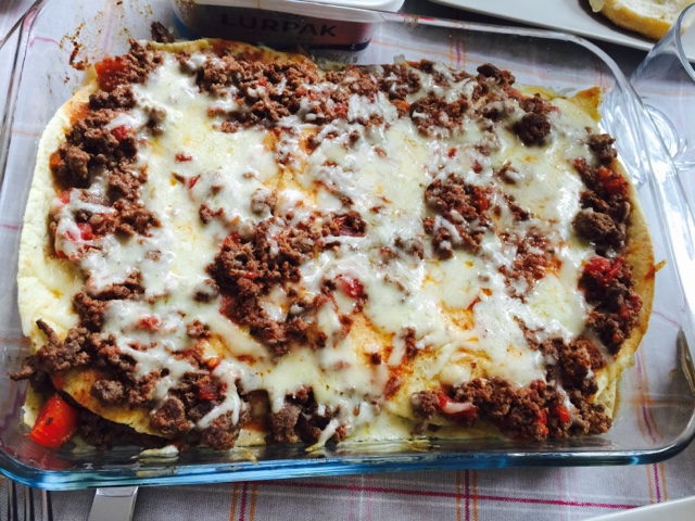 Mexican lasagna with ground moose and tortillas