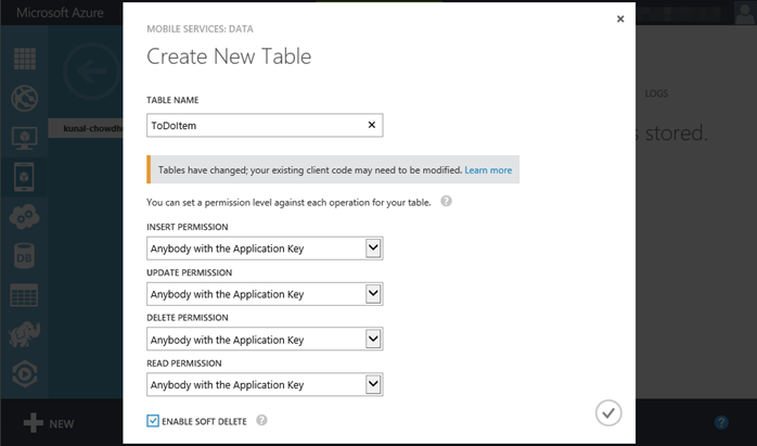 9. Windows Azure - Mobile Service - Create a new table (www.kunal-chowdhury.com)