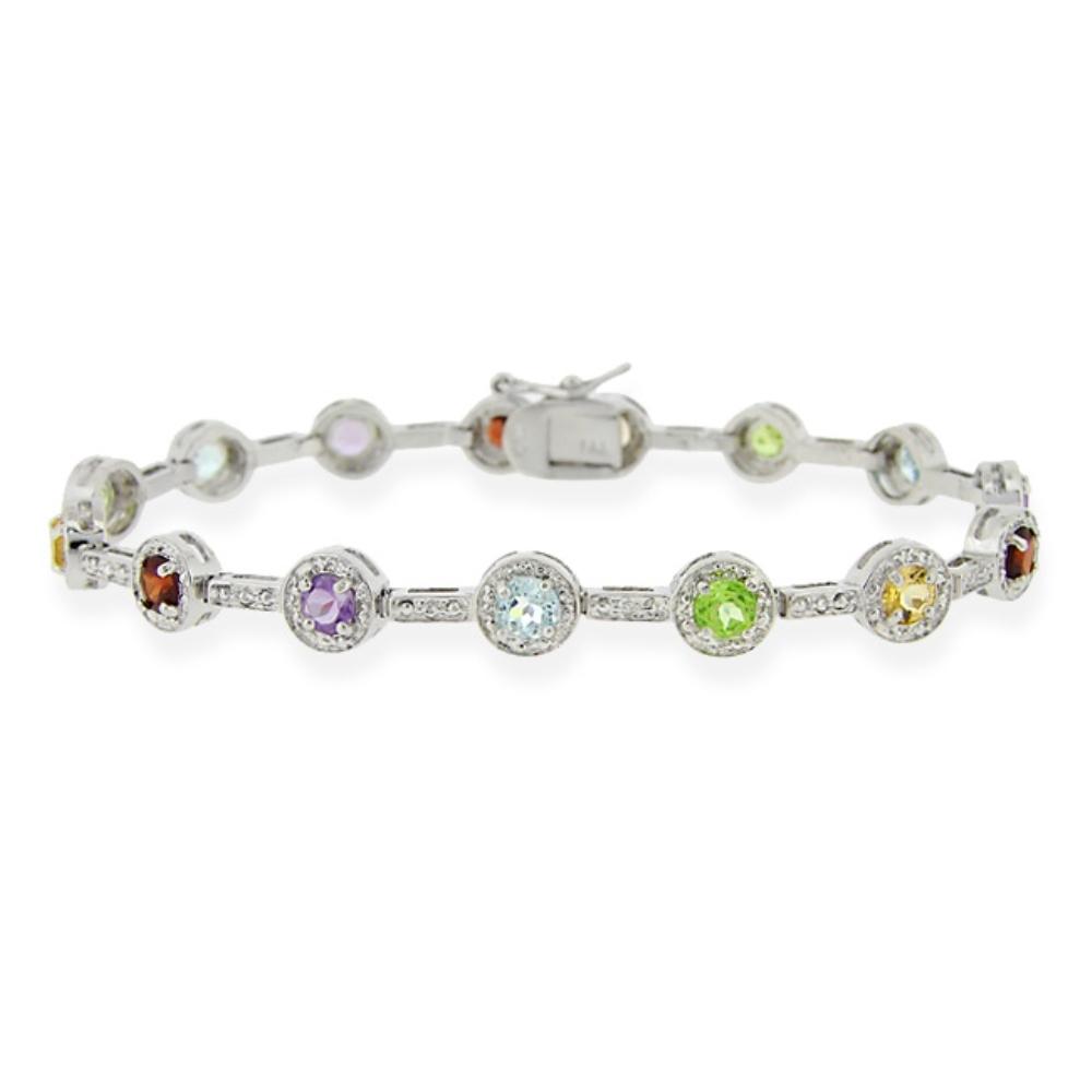 925 silver multi gemstone tennis bracelet ebay