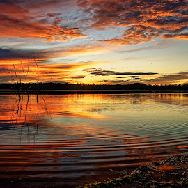 Firesky rippled reflections by Rob Crutcher  - Landscapes Waterscapes ( clouds, sky, colorful, waterscape, sunset, reflections, lake, waterway )