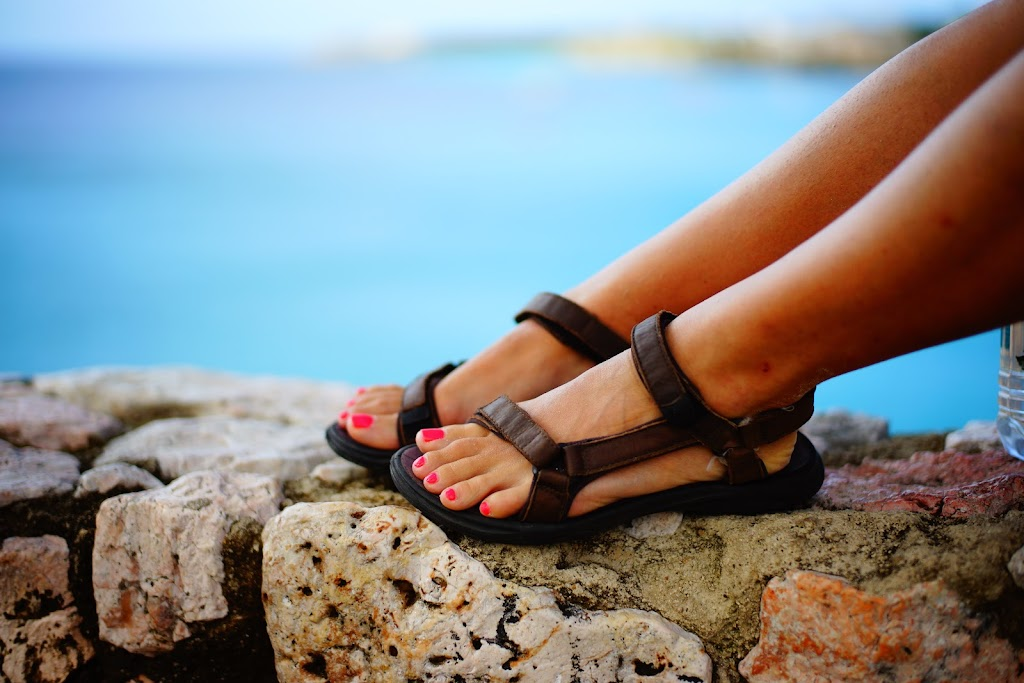 with tevas in the Caribbean