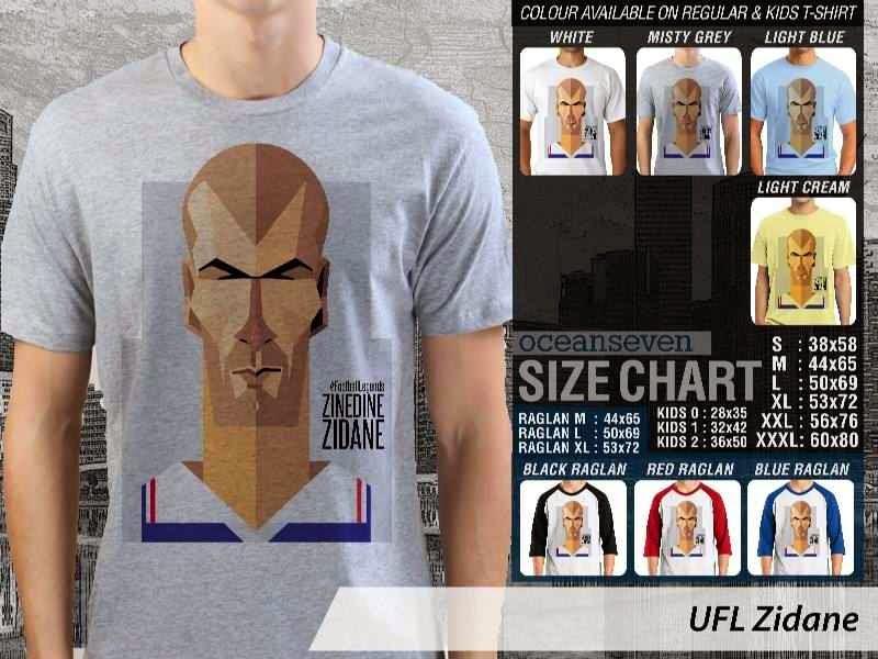 KAOS Zinedine Zidane 1 Kartun Bola distro ocean seven