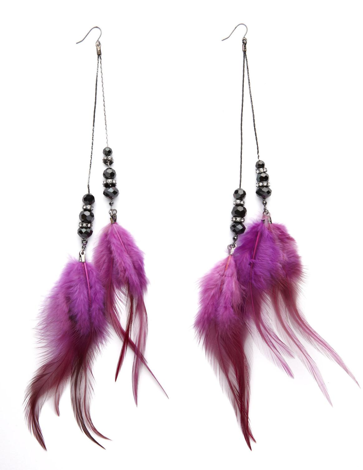 Long Feather-Trim Earrings